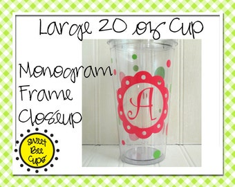 Monogrammed Acrylic Cup Md - Girly Monogrammed Acrylic Tumbler Cup 16 oz with Monogram, Polka Dots, Curlz Font BPA FREE