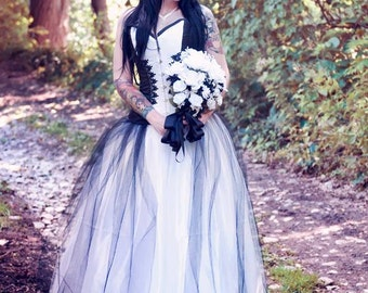 Couture Satin and Tulle Fairytale Corset Wedding Gown