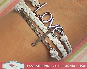 Bracelet- Infinity Bracelet, Infinity Wish Bracelet, Cross Bracelet Bracelet, Love Bracelet, Friendship Bracelet- R120.116