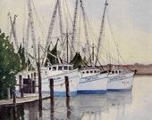 "Darien, Georgia - Shrimp Boat Watercolor Ltd. Ed. Print -  11"" x 14"" double matted, art, painting, seascape"