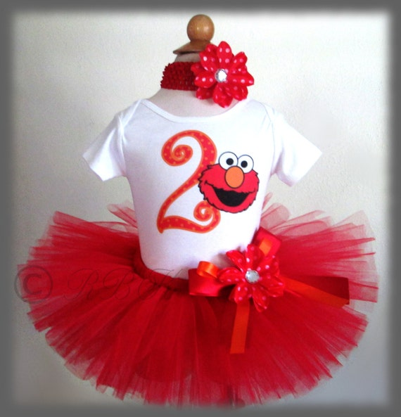 1st 2nd Birthday Tutu Outfit Elmo Tutu Outfit By RBKBoutique