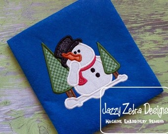 Snowman with Evergreen Trees Applique Design