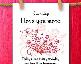i love you more love quote printable art sign framed