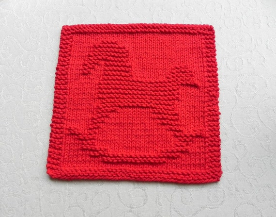 ROCKING HORSE Knit Dishcloth. Hand Knitted Unique Design. Red