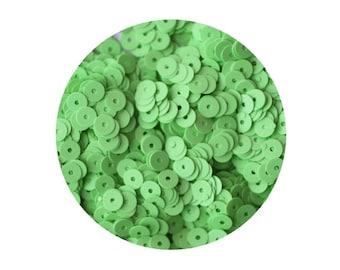Sequins 5mm Flat Green Bright Neon Opaque
