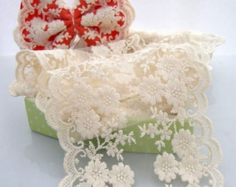 "Lace Trim Lace Fabric Beige Rose Embroidery Wedding Fabric 4.33"" width 1 yard"