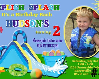 Water Slide Birthday Invitation with Photo  You Print  Digital File Pool Party Waterslide Birthday Party Invitation