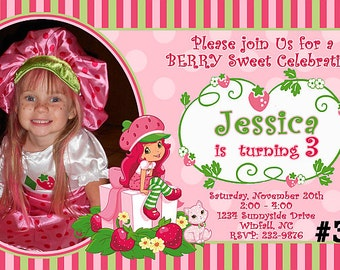 20 Strawberry Shortcake Invitations PRINTED - 20 or More Birthday Party Invitations  includes envelopes