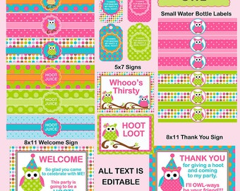 Owl Printable Party Package, EDITABLE text Includes Owl Birthday Invitation &- personalize at home with Adobe Reader - INSTANT DOWNLOAD