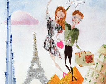 Custom Portrait - Personalized Illustration - Traveling Couple - Original Mixed-Media