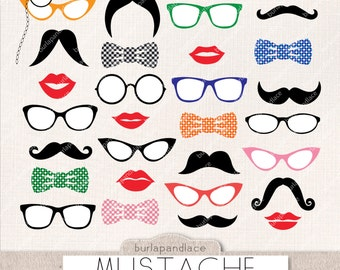 Mustache cliparts, retro party, mustache clip art, photo booth prop,  lips, bow ties, mustache clipart, make your own Photo Booth Prop