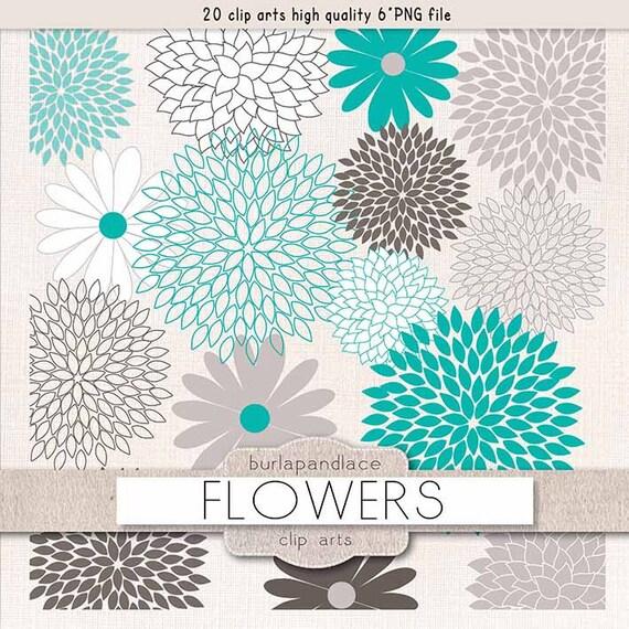 Clipart Flower Cliparts Dahlia Teal Grey Chrysanths Mum Beige Flowers Clip Arts
