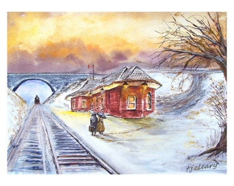 Waiting at the Station Watercolour Print. From an Original Painting by Artist.T J Cleary. Heavy Art Paper