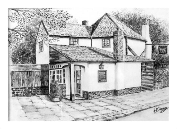 Antiguo pub en inglaterra grafito dibujo a l piz imprimir - Casas dibujadas a lapiz ...