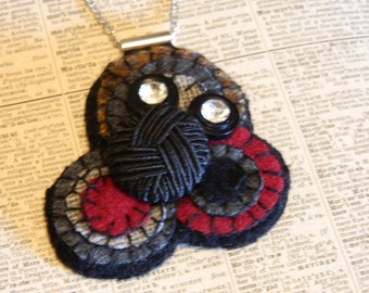 Button Necklace - Wool Felted Circle Necklace in Burgundy and Grey with Vintage Rhinestone Buttons