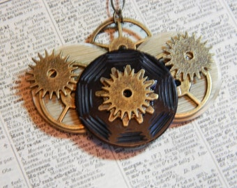 Button Necklace - Vintage Buttons and Gear Steampunk Black and Beige Necklace