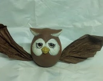 "Ceramic Owl ""Eggs-Pression"" with Twisted Paper Wings"