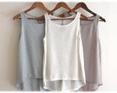 Light gray Tank top shirt, women tank top , summer singlet / Knit tank top /white singlet --- S  M  L