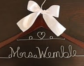 Set 7 FREE SHIPPING Personalized Wedding Dress Hanger Bride Gift, Bridesmaid Gift, Bridal Party Favors, Custom Wedding Hangers