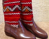 Handcrafted Moroccan Red Kilim Boot in Brown Leather - Size 40