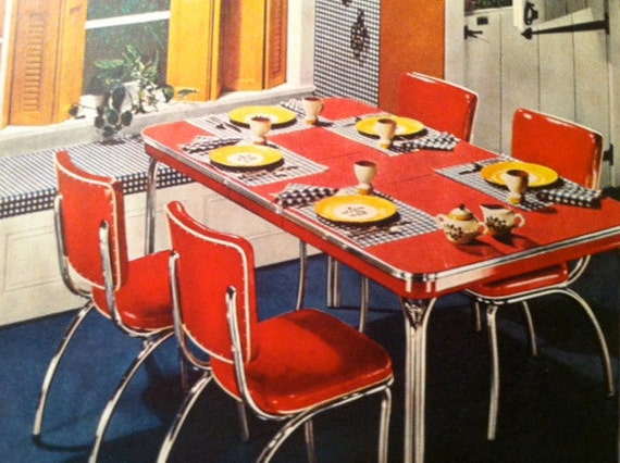 Items Similar To Vintage Dinette Ad Red Vinyl 1940s Mid