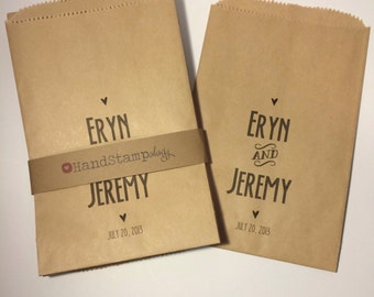 "Personalized Kraft Favor ""Thank You"" Bags - Goodie Bag-Candy Bag-Wedding Favor Bags, Party Favor Bag, Paper Bag"