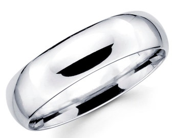 14K Solid White Gold 6mm Comfort Fit Wedding Band Ring