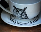 large Cup and Saucer latte tea with owl