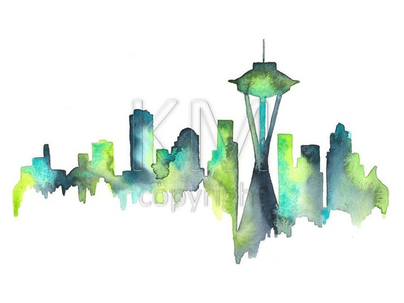 Seattle Skyline Watercolor print of original art piece - Blue and Green Home decor and wall art