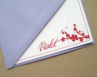 Personalized Cherry Blossom Stationery Set (6)