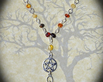 Baltic Amber Goddess Necklace - Pentacle, Pagan Jewellery, Wicca, Witch