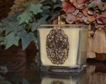 22oz Old World Tuscan Luxury Double Wick Soy Candle Embellished w/Antique Gold Fleur de Lis and Swarovski Crystal Accents