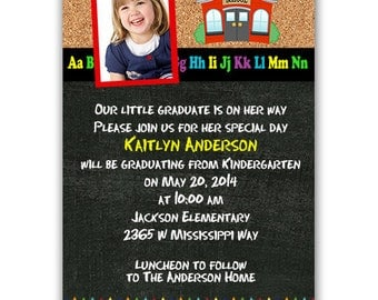 GRADUATION Kindergarten or Preschool Photo Announcement Invitation Printed or Digital FREE SHiPPiNG
