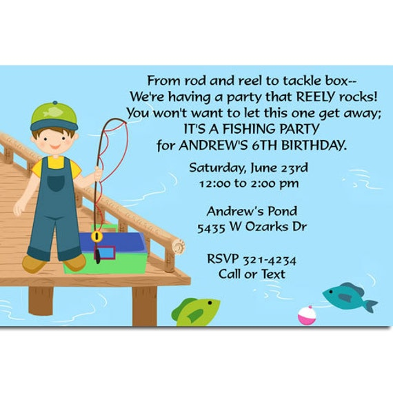 Fishing Birthday Party Invitations Fish Birthday Invitations The