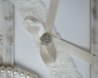 Wedding Garter, Bridal Garter, Vintage Wedding, Ivory Lace Garter, Crystal Garter, Something Blue