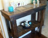 Rustic foyer entry way table. Made from recycled pallets with slate detailing angled legs and free floating shelf . - PalletWHECreations