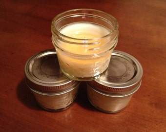 TRIO of 4 oz Mini Mason Jar Soy Candles - Custom Scent and Color