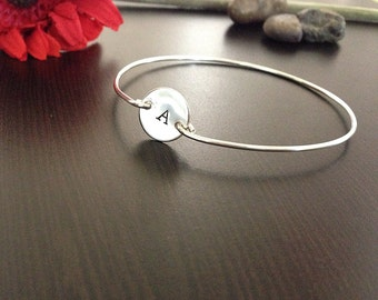Personalized Initial Bangle - Sterling Silver - Bracelet