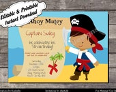 Pirate Invitation Birthday Party - Editable Printable Digital File with Instant Download
