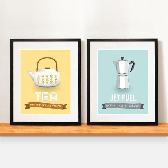 Items similar to coffee poster retro kitchen decor for Kitchen set items