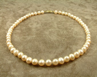 Pink Pearl Necklace 7.5 - 8 mm (Κολιέ με Ροζ Μαργαριτάρια 7.5 - 8 mm)