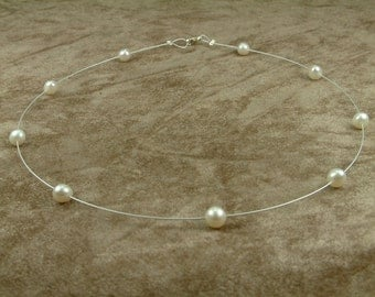 Wire Necklace with White Pearls 6 - 6.5 mm (Κολιέ από Ατσαλόσυρμα με Λευκά Μαργαριτάρια 6 - 6.5 mm)