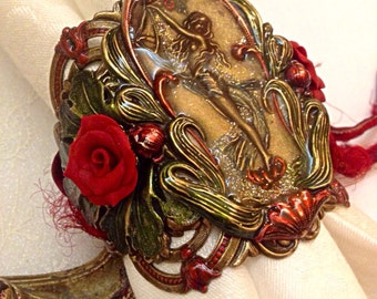 Art Nouveau Cuff with Polymer Roses