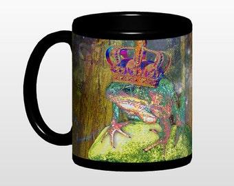 Frog Prince mug, black background