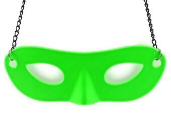 NEON MASQUERADE Mask PENDANT  - Fluorescent Neon Green Masquerade Mask Cut Out Pendant Charm (8.5cm x 3cm)