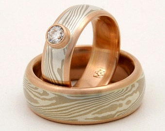 Mokume Gane wedding ring set - woodgrain, with rose gold lining