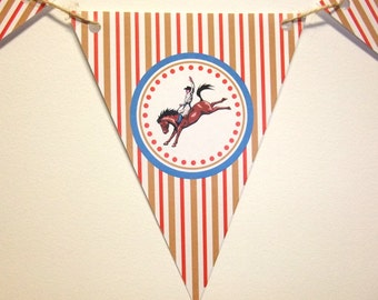 Rodeo Cowboy Banner, Western Theme, Cowboy and Horse, Wild West Party, Birthday Banner, Party Decoration, Rodeo Pennant, Bunting