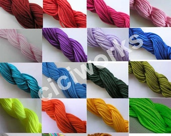 Full-color 15 Yards 1.5mm Chinese Knotting Cord/Braided Nylon Beading Cord of 23 colors