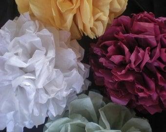 "sage green, yellow (2), off-white, burgundy pompoms set of 5 9"" diameter fall"