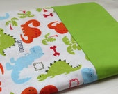 Multi-Colored Dinosaur Pillowcase; Lime Green Accents; 100% Cotton